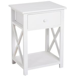 HOMCOM Nachttisch Telefontisch Beistelltisch Wohnzimmertisch mit Schublade Holz Weiß 40 x 30 x 55 cm