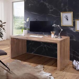 WOHNLING Schreibtisch BOHA Massiv-Holz Akazie Computertisch 140 cm breit Echtholz Design Ablage Büro-Tisch Landhaus-Stil