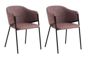 SalesFever Esszimmerstuhl 2er Set | Bezug Strukturstoff | Stuhlbeine Metall | mit Armlehnen | B 54 x T 59 x H 79 cm | rot-schwarz