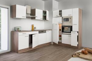 respekta Küche Küchenzeile Küchenblock Einbauküche Eiche York weiß Glanz 370 cm