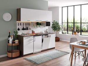 respekta Küche Küchenzeile Küchenblock Einbau Singleküche 195 cm Eiche York weiß