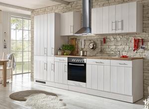 respekta Küche Küchenzeile Küchenblock Landhausküche Einbauküche 310 cm weiß