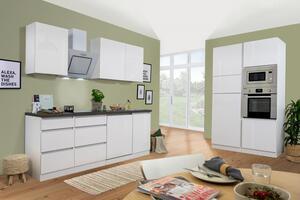 respekta Küche Küchenzeile Küchenblock grifflose Einbauküche 345 cm weiß Glanz