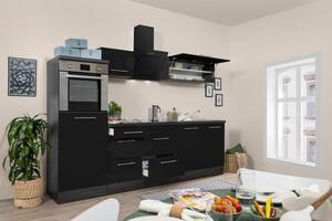 respekta Küchenzeile Küche Küchenblock Einbauküche 270cm Hochglanz Eiche schwarz