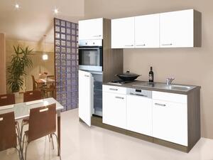 respekta Küche Küchenblock Küchenzeile Einbau Singleküche 205 cm Eiche York weiß