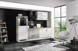 respekta Küche Küchenzeile Küchenblock Einbauküche weiß Hochglanz Beton 260 cm