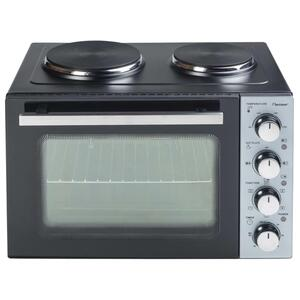 Bestron Kleinküche mit Ofen und Doppelkochplatte, Crispy & Co, 3200 Watt, Schwarz