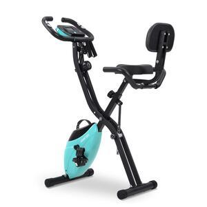 Heimtrainer Hometrainer Fahrradtrainer klappbar mit Zugbandsystem 2,5 kg Schwungrad 10 stufen Max Benutzergewicht 120kg Zuhause Büro Fitnessgerät Blau