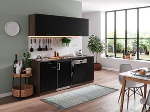 respekta Küche Küchenblock Küchenzeile Singleküche 195 cm Eiche York schwarz