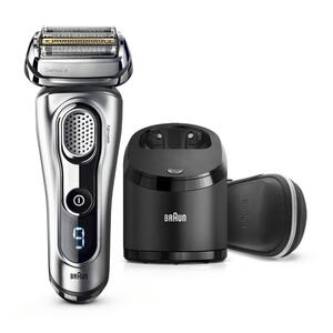 Braun Series 9 9291cc Rasierapparat, mit Reinigungs- und Ladestation und Premium-Reise-Etui – silber