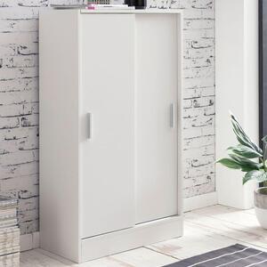 WOHNLING Aktenschrank WL5.817 Holz 60 x 107,5  x 28,5 cm Weiß   Design Mehrzweckschrank   Büroschrank Modern   Kommodenschrank Flurmöbel   Sideboard Flur Kommode   Kleiner Aufbewahrungsschrank