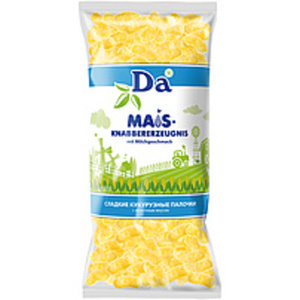 "Süßes Maisknabbererzeugnis ""Da"" mit Milchgeschmack"