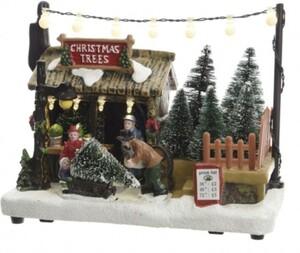 Kaemingk LED Weihnachtsbaumverkauf Szene 10,5 x 14 cm, bunt