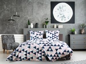 Dobnig Satin Bettwäsche »Dreiecke rose blau«, 135x200 cm oder 155x220 cm, Reißverschluss, Baumwolle