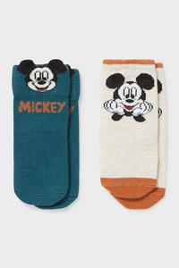 C&A Multipack 2er-Micky Maus-Baby-Socken, Blau, Größe: 10-11
