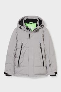 C&A Skijacke mit Kapuze-recycelt-BIONIC-FINISH®ECO, Grau, Größe: 140