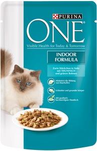 One Cat Indoor Formula zarte Stückchen in Soße mit Thunfisch 85G
