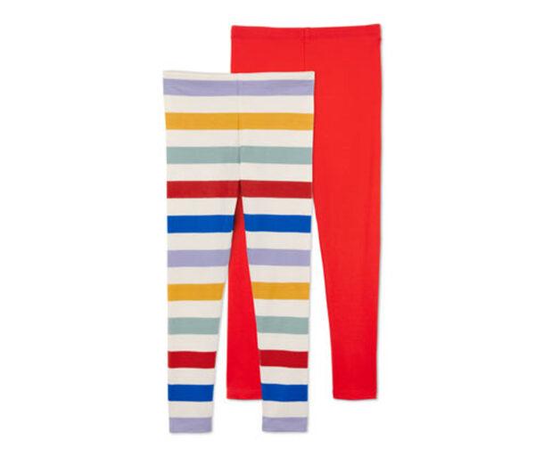 2 Leggings, rotorange, mehrfarbig gestreift