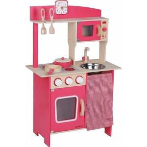 beeboo SpielMaus Hol Kinder-Holzküche rot, mit Zubehör