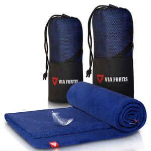 VIA FORTIS Mikrofaser Sporthandtuch mit Tasche - 80*40 cm