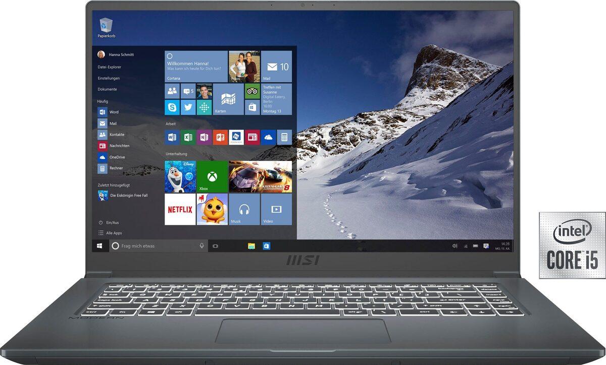 Bild 1 von MSI Modern 15 A10M-641 Notebook (39,6 cm/15,6 Zoll, Intel Core i5, UHD Graphics, 512 GB SSD, Kostenloses Upgrade auf Windows 11, sobald verfügbar)