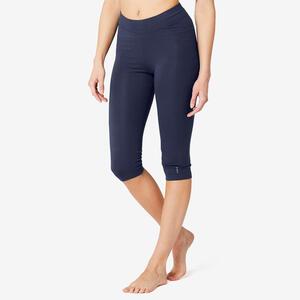 3/4-Hose Fitness Baumwolle Fit+ Damen marineblau