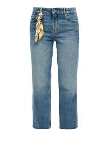 Damen Regular Fit: Cropped Jeans mit Tuch