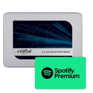 Crucial MX500 SATA SSD 1 TB 3D NAND TLC 2.5zoll inkl. Spotify Premium 10€