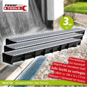 Powertec Tools Entwässerungsrinnen 3er-Set