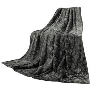 "Bella Casa Webpelzoptik-Decke ""Fox"", ca. 150 x 200 cm - Granit"