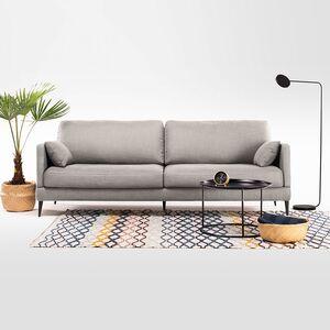 home24 Mørteens Sofa Schore 3-Sitzer Hellgrau Webstoff 222x85x92 cm