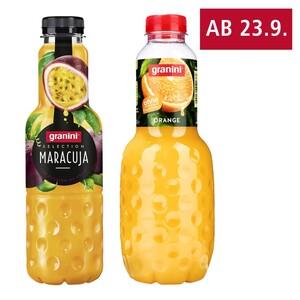 granini Trinkgenuss 1 Liter, Sensation oder Selection 0,75 Liter, versch. Sorten, jede Flasche (+ 0,25 Pfand) Grundpreis: 1 Liter: 1 Liter = 0,95 0,75 Liter: 1 Liter = 1,27