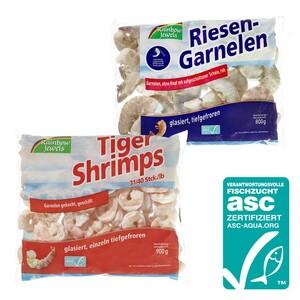 ASC-Tiger-Shrimps, geschält, gekocht oder ASC-Riesen-Garnelen ohne Kopf, mit Schale, leicht zu schälen, gefroren, jeder 1000-g-Beutel/800/900g Abtropfgewicht Grundpreis: Abtropfgewicht 0,9 kg: 1