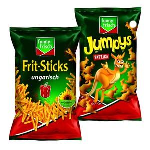 funny-frisch Frit-Sticks ungarisch, Paprika Ecken, Jumpys oder Ringli jeder 75/80/ 100-g-Beutel Grundpreis: 80 g: 100 g = 1,10 75 g: 100 g = 1,17