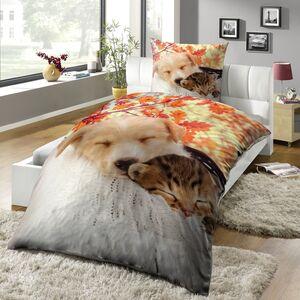 Dekor Mikrofaser Bettwäsche - Hund und Katze - versch. Tiermotive