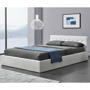 Juskys Polsterbett Marbella 140x200 cm weiß mit Bettkasten & Lattenrost – Bett mit Holzgestell