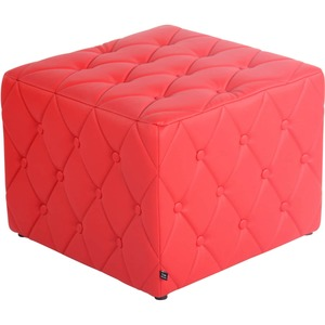 CLP Sitzhocker Nashville Mit Kunstlederbezug I Gepolsterter Sitzwürfel I Eckiger Polsterhocker I Sitzhöhe: 37 cm... rot
