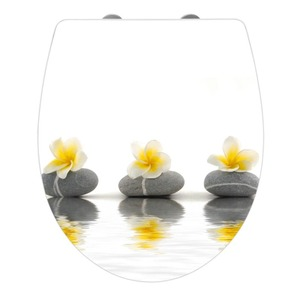 WENKO Premium WC-Sitz Hochglanz Acryl Stones with Flower, Weiß