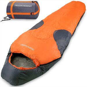 Deuba Schlafsack Mumienschlafsack Frozen Mummy 230x82cm bis -21°C Orange Grau
