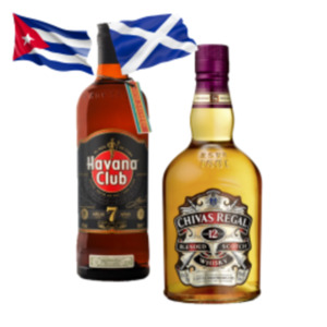 Chivas Regal Scotch,Dimple Golden Selection Scotch Whisky, Havana Club 7J oder Kraken Spiced Rum