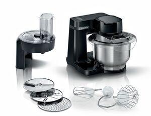 BOSCH Küchenmaschine MUMS2EB01 MUM Serie 2, 700 W, 3,8 l Schüssel, vielseitig einsetzbar, Durchlaufschnitzler, 3 Reibescheiben, Patisserieset Edelstahl, schwarz