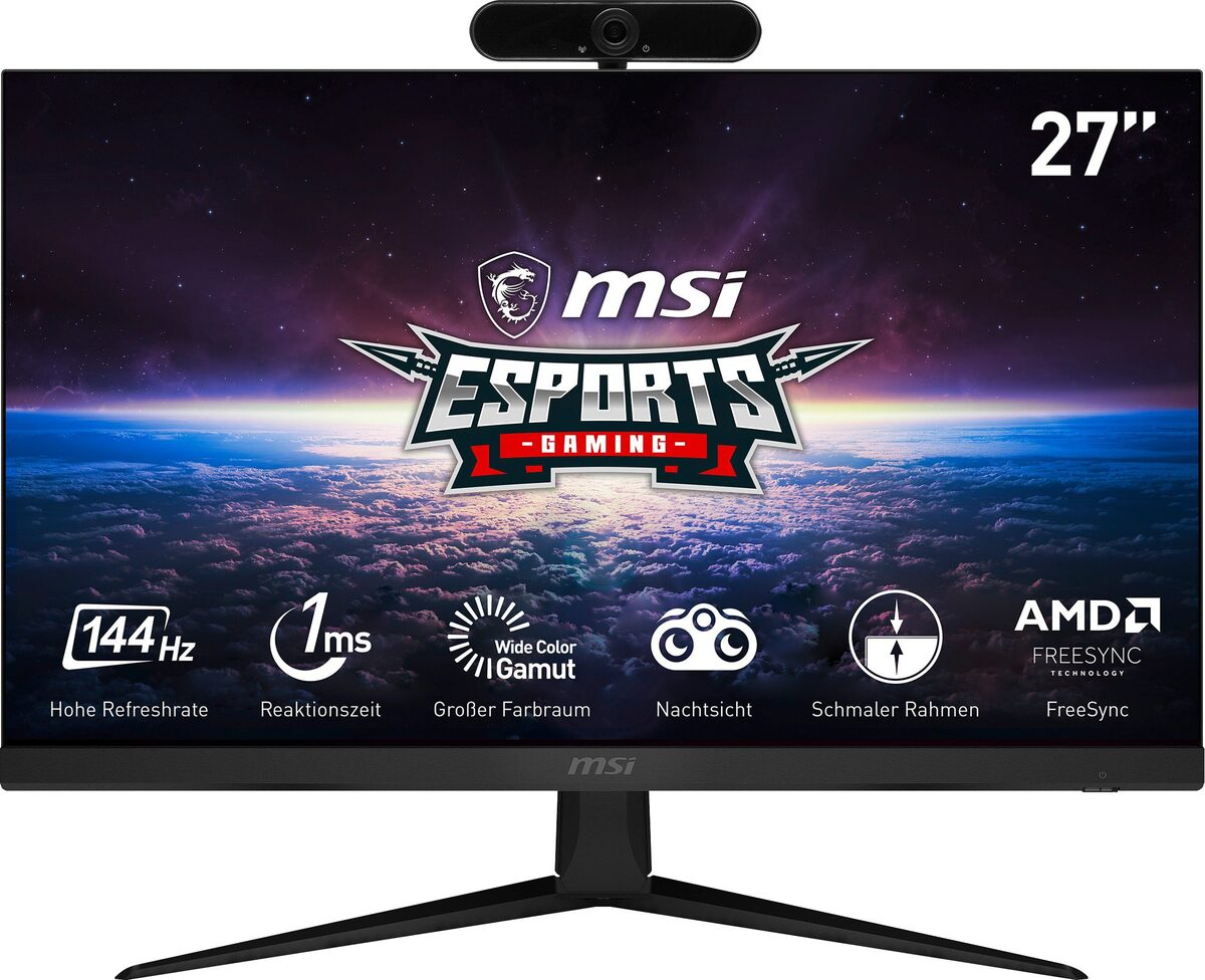 "Bild 1 von MSI Optix G271 Gaming-Monitor (69 cm/27 "", 1920 x 1080 Pixel, Full HD, 1 ms Reaktionszeit, 144 Hz, IPS, inklusive Hyrican Full HD Webcam DW1 1920 x 1080 2 MP, USB)"
