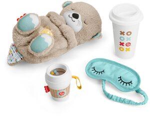 Fisher-Price® Spieluhr »Schlummer-Otter Geschenkset«, (Set, 4-tlg), Einschlafhilfe, Otter mit Sanftem Licht; Inklusive Schlafmaske + Becher für die Eltern sowie Beißhilfe für das Baby