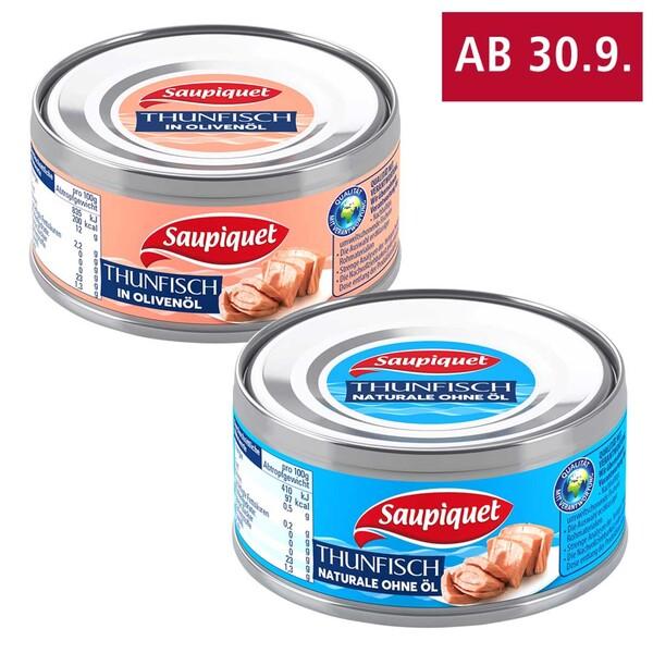Saupiquet Thunfisch-Stücke, in Wasser oder Olivenöl, jede 185-g-Dose/140 g Abtropfgewicht