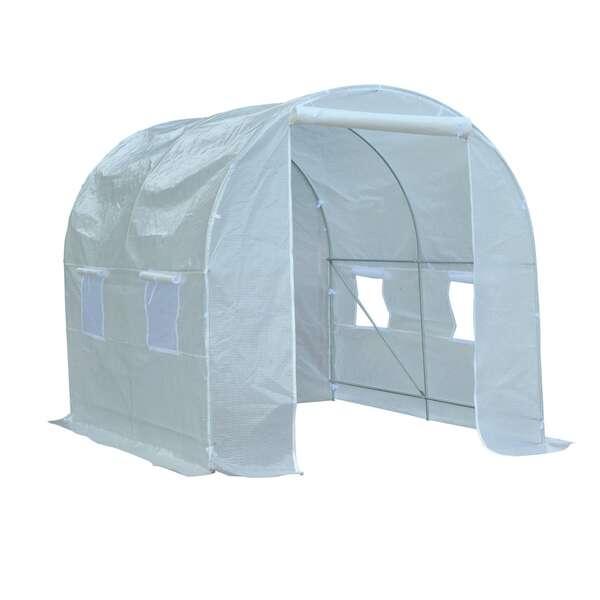 Outsunny Foliengewächshaus mit 8 Seitenfenstern weiß