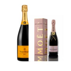 Champagner Moët & Chandon Rosé Impérial Brut oder Veuve Clicquot Brut