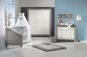Schardt Kinderzimmer Nordic Driftwood mit 3-türigem Kleiderschrank, 3-teilig mit Kombi-Kinderbett 70x140 cm (inklusive Umbauseiten), Wickelkommode und Kleiderschrank