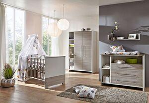 Schardt Kinderzimmer Eco Silber mit 3-türigem Kleiderschrank, 3-teilig mit Kombi-Kinderbett 70x140 cm (inklusive Umbauseiten), Wickelkommode und Kleiderschrank