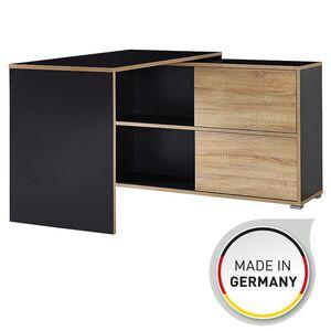 """Germania Schreibtisch """"GW-Slide"""" in Anthrazit/Sonoma-Eiche-Nachbildung, mit integriertem Sideboard, 120 x 76 x 120 cm (BxHxT), 4036-161"""