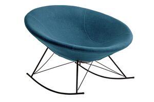 SalesFever Schaukelstuhl rund | Bezug Webstoff | Kufen Gestell Metall schwarz | B 105 x T 105 x H 101,5 cm | blau-petrol